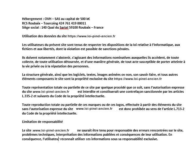 mentions légales loi pinel ancien